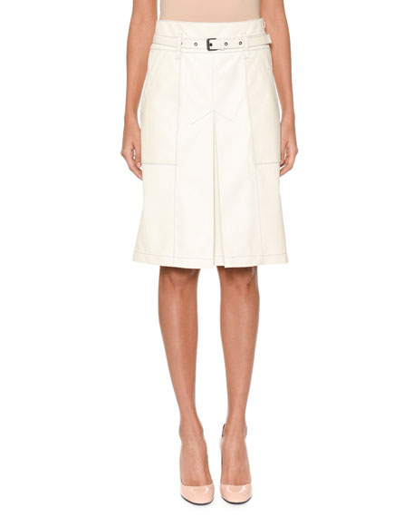 Bottega Veneta A-Line Inverted-Pleat Lamb Leather Knee-Length