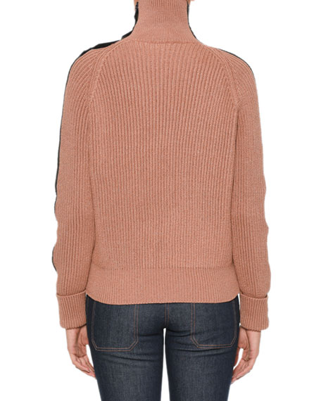 Turtleneck Long-Sleeve Knit Sweater w/ Intrecciato Suede Trim