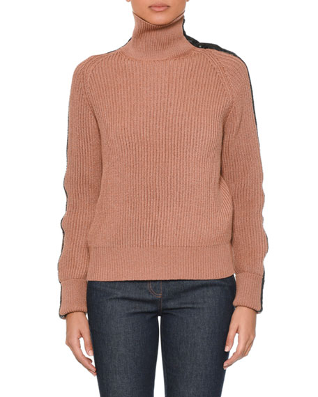 Bottega Veneta Turtleneck Long-Sleeve Knit Sweater w/ Intrecciato