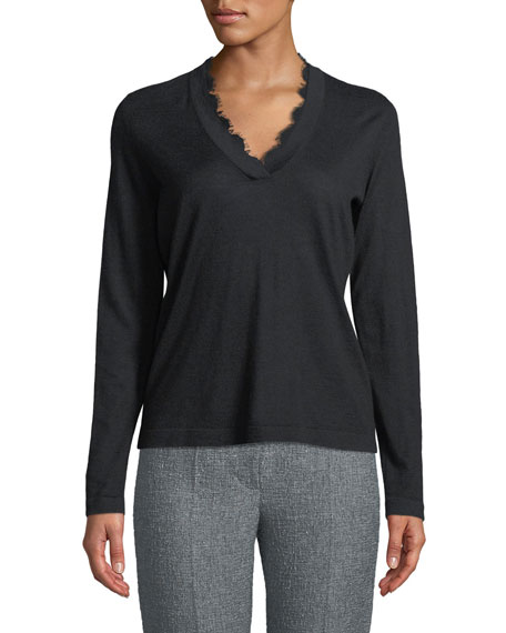 V-Neck Long-Sleeve Cashmere Sweater w/ Lace Trim