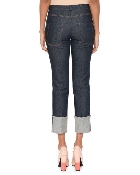 Leather-trimmed High-rise Straight-leg Jeans - Dark denim Bottega Veneta
