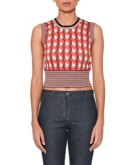 Bottega Veneta Sleeveless Crewneck Cropped Knit Top and