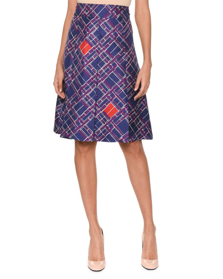 Pleated-Front Irregular Check-Print Knee-Length Silk Skirt