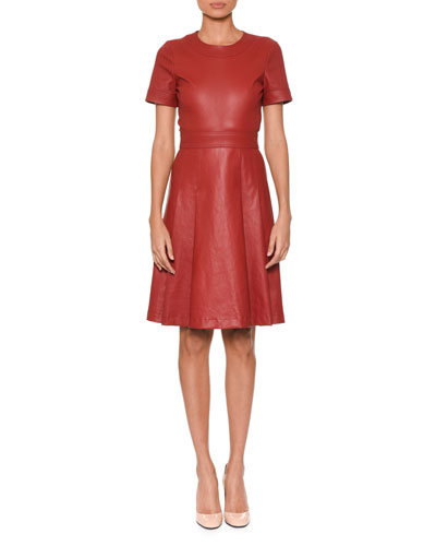 Short-Sleeve Round-Neck Fit-and-Flare Napa Leather Dress