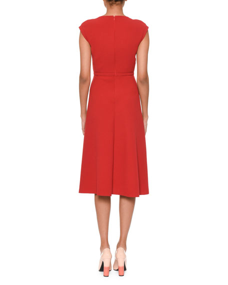Bow-Front Sleeveless Tea-Length Fit-and-Flare Dress
