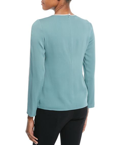 Crewneck Long-Sleeve Silk Blouse w/ Contrast Piping