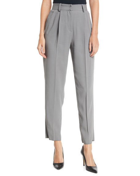 Emporio Armani High-Waist Straight-Leg Pleated Cady Pants