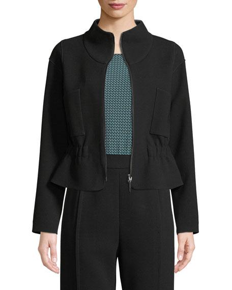 Zip-Front Crepe Sport Jacket