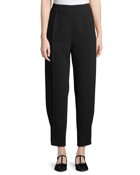 Tapered Satin Back Crepe Pants w/ Button-Tab Cuffs