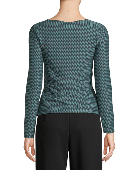 Round-Neck Long-Sleeve Lattice-Jacquard Knit Top