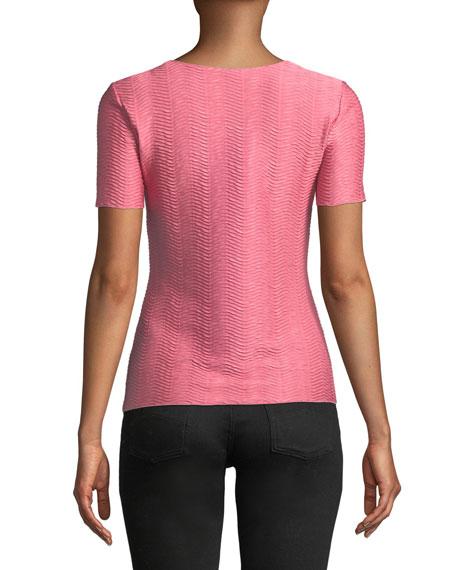Short-Sleeve Round-Neck Wave-Jacquard Knit Shell