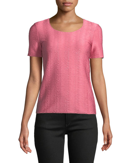 Emporio Armani Short-Sleeve Round-Neck Wave-Jacquard Knit Shell