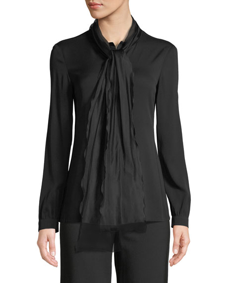 Long-Sleeve Silk Georgette Blouse w/ Tie Collar