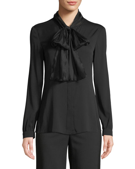 Emporio Armani Long-Sleeve Silk Georgette Blouse w/ Tie