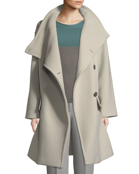 Asymmetrical Funnel Neck Coat