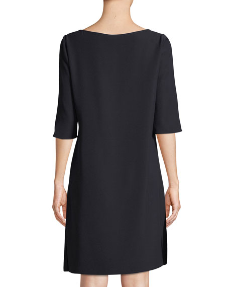 Boat-Neck Elbow-Sleeve Cady Shift Dress w/ Side Ruching