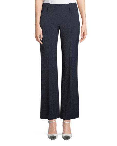 Side-Zip Straight-Leg Melange Pants