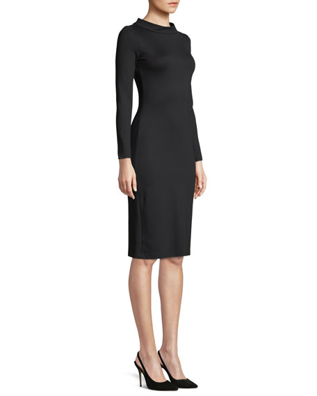 High-Collar Long-Sleeve Jersey Sheath Dress