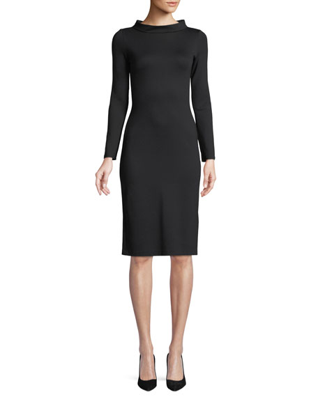 Emporio Armani High-Collar Long-Sleeve Jersey Sheath Dress