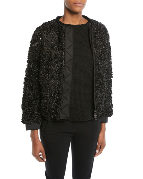 Embellished Zip-Front Jacket w/ Detachable Faux-Fur Trimmed Hood