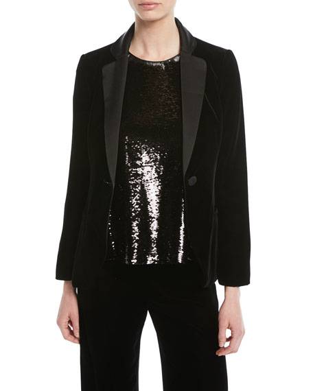 Emporio Armani One-Button Classic Velvet Tuxedo Jacket