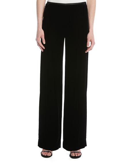 Emporio Armani Wide-Leg Side-Zip Velvet Pants