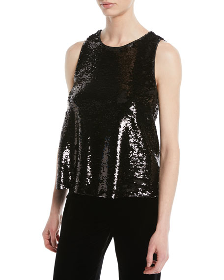 Crewneck Sleeveless Sequin Top, Black