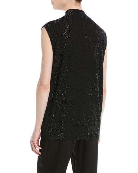 Sleeveless Mock-Neck Embellished Wool Tunic