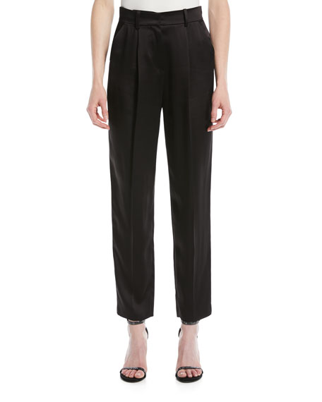High-Waist Straight-Leg Pleated Satin Pants