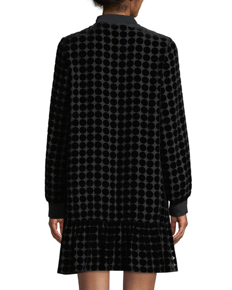 Zip-Collar Long-Sleeve Dotted Velvet Burnout Trapeze Dress