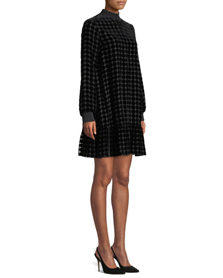 Zip-Collar Long-Sleeve Dotted Velvet Burnout Trapeze Dress