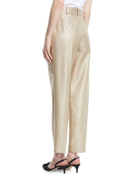 High-Waist Straight-Leg Metallic-Wool Pants