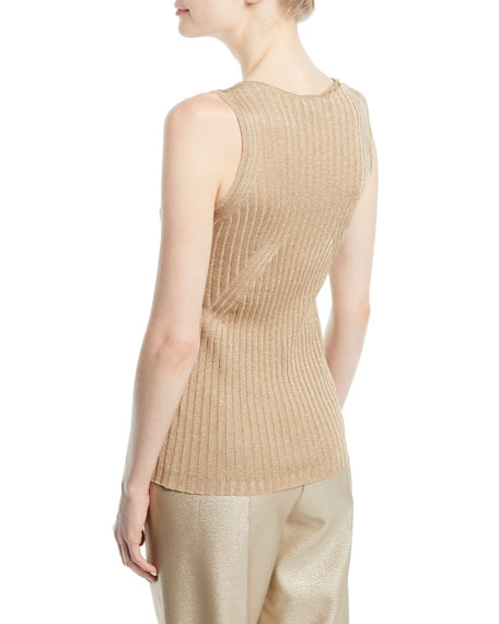 Scoop-Neck Metallic Wide-Ribbed Knit Tank