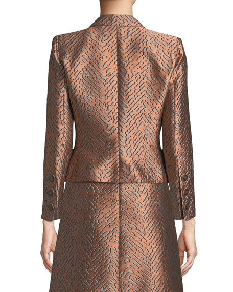 One-Button Classic Metallic Jacquard Jacket