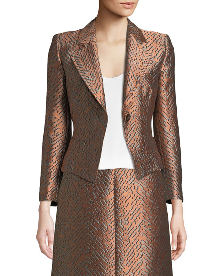 Emporio Armani One-Button Classic Metallic Jacquard Jacket and