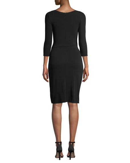 3/4-Sleeve Matte Jersey A-Line Dress w/ Ruching Detail