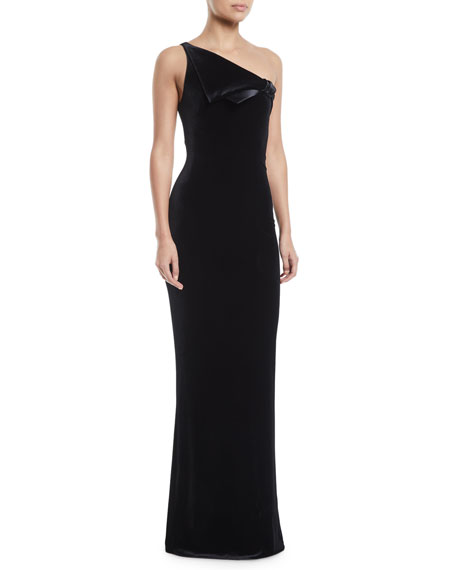 One-Shoulder Velvet Jersey Column Evening Gown w/ Satin Trim