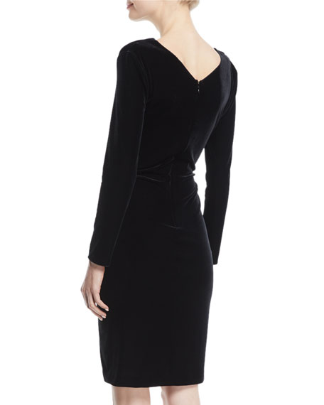 V-Neck Long-Sleeve Ruched Velvet Jersey Dress