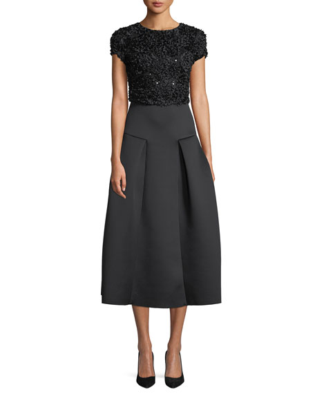 Cap-Sleeve Fit-and-Flare Cocktail Dress w/ Embellished Top & Neoprene Skirt