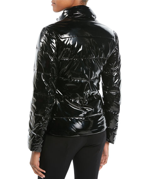 Shiny Quilted Puffer Jacket w/ Hook Closure