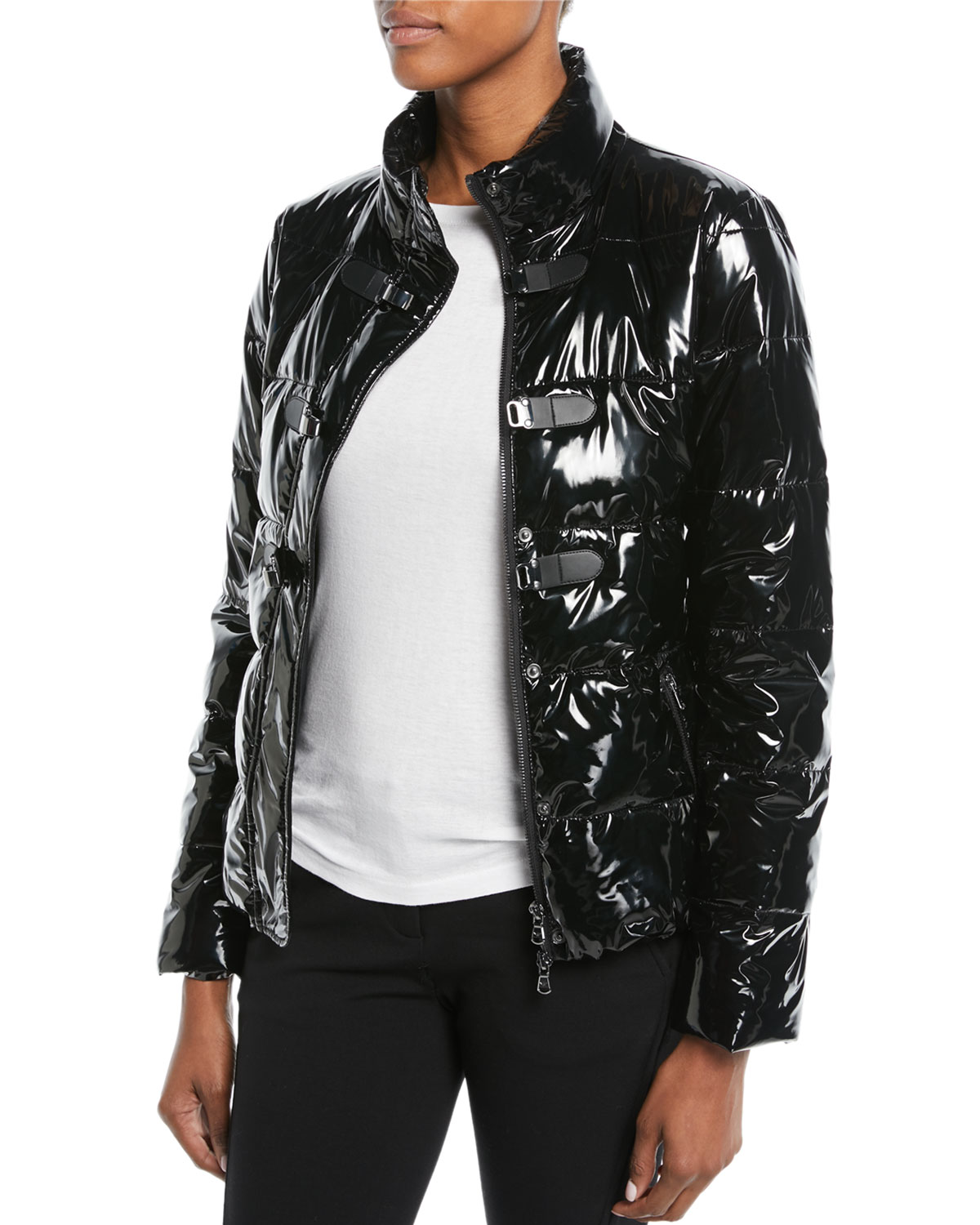 Emporio Armani Shiny Quilted Puffer Jacket W Hook Closure Neiman