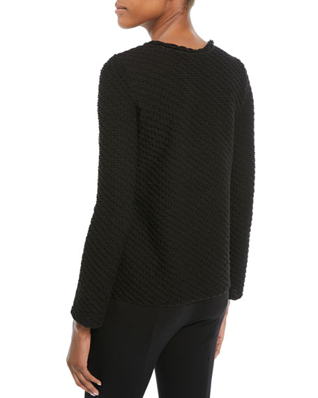 Long-Sleeve Boucle Wool-Blend Sweater