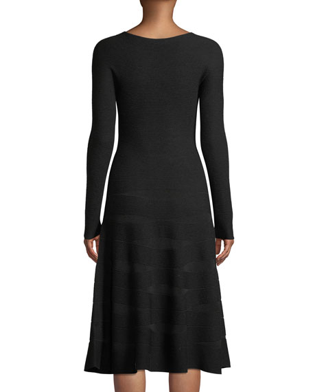Long-Sleeve Ottoman-Jacquard Wool A-Line Midi Dress