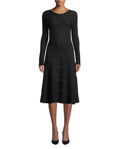 Long-Sleeve Ottoman-Jacquard Wool A-Line Midi Dress