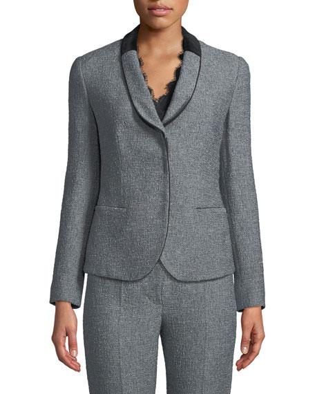 Single-Breasted Shawl-Collar Tweed Jacket w/ Velvet Half Collar