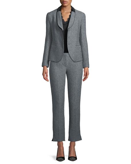 Boucle Tweed Straight-Leg Pants