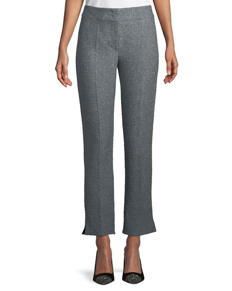 Boucle Tweed Straight-Leg Pants