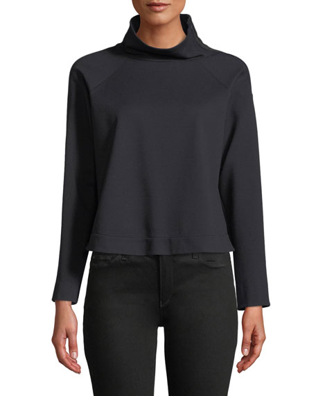 Emporio Armani Zip-Collar Long-Sleeve Jersey Sport Top