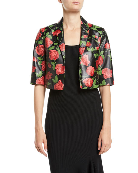 Stemmed-Roses Plonge Leather Bolero Jacket