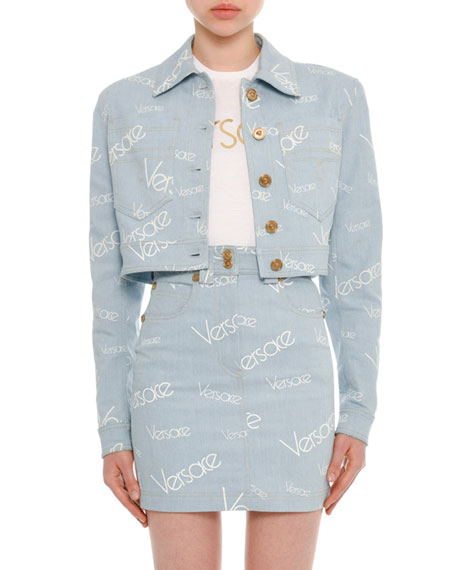Button-Front Cropped Denim Jacket